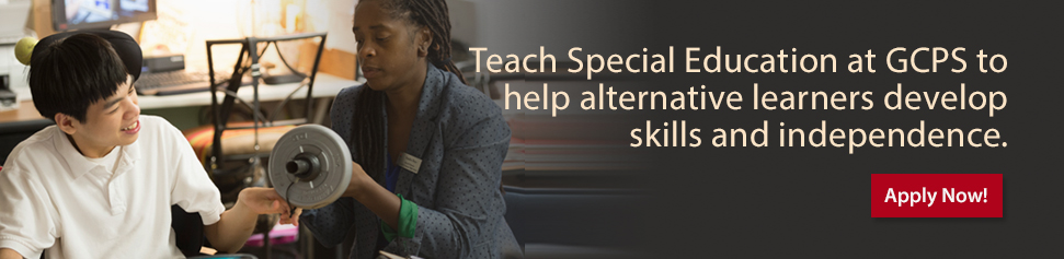 teacher working with special needs student